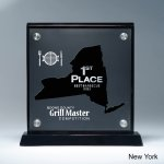 Frosted Lucite Cutout on Risers Award  with Choice of State Achievement Awards
