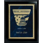 Blue Marble Florentine Plate on Ebony Board Achievement Awards