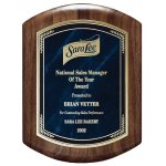 Genuine Walnut Barrel-Shaped Plaque with Marble Mist Achievement Awards