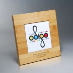 Bamboo Plaque with Digi-Color on White Tile Bamboo Wood Awards