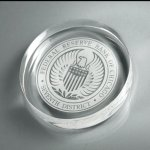 Lucite Circle Paperweight Boss Gift Awards