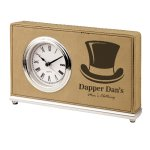 Leatherette Rectangle Clock -Light Brown Boss Gift Awards