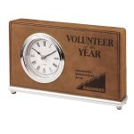 Leatherette Rectangle Clock -Dark Brown Boss Gift Awards