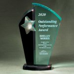Patina Star Tower Jade and Black Lucite on Base Colored Acrylic Awards