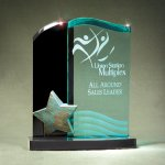 Patina Star Double Wave Jade and Black Lucite on Base Colored Acrylic Awards