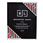 Black Acrylic Plaque with Accent and Mirror Corner Colored Acrylic Awards