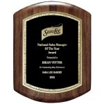 Genuine Walnut Barrel Plaque With Black And Gold Florentine Employee Awards