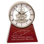 Silver Skeleton Clock on Rosewood Piano Base Employee Awards