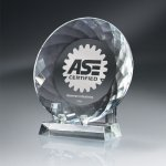 Round Crystal Plate with Crystal Stand Sales Awards
