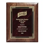 Genuine Walnut Elliptical Plaque with Marble Mist Sales Awards