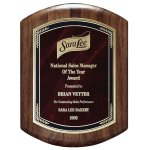 Genuine Walnut Barrel-Shaped Plaque with Marble Mist Sales Awards