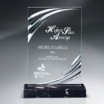 Diamond Carved Lucite on Genuine Black Marble Base Traditional Acrylic Awards