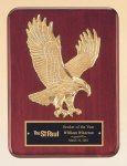 Rosewood Piano Finish Plaque with Gold Eagle Casting Wood Awards